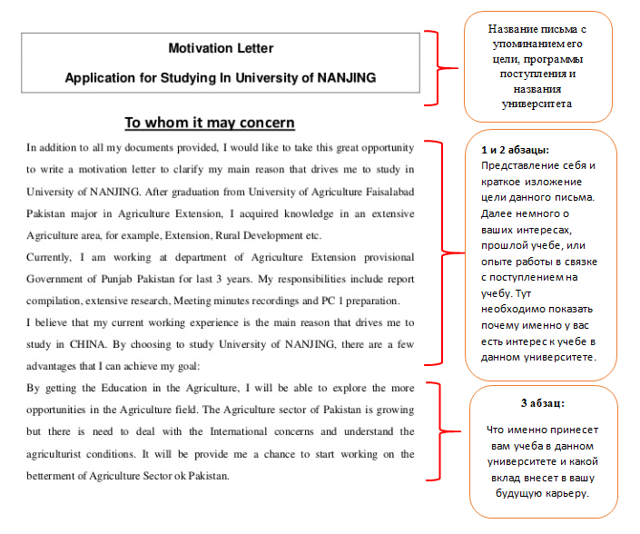 Мотивационное письмо для учебы за границей в 2020 году: пример