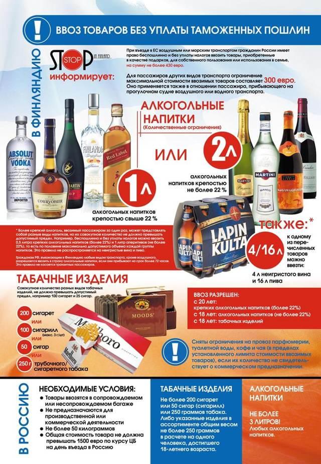 Сколько можно ввезти алкоголя в Россию
